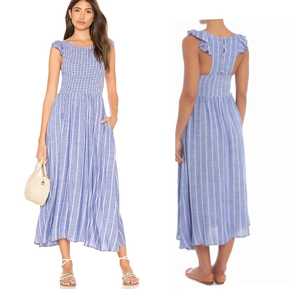 new images of coupon code attractive price Free People Dresses | Chambray Butterflies Blue Midi Dress | Poshmark